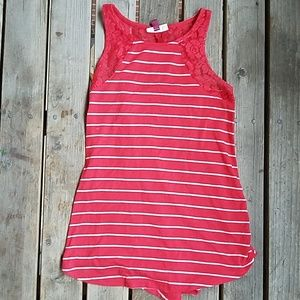 SO Red and white striped laced back tank top S